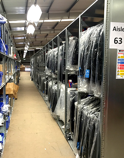 Shelving for industrial clothing