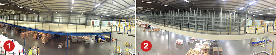 Stages of warehouse mezzanine and shelving construction
